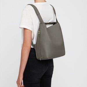 Allsaints Kita Small Leather Backpack Natural Grey